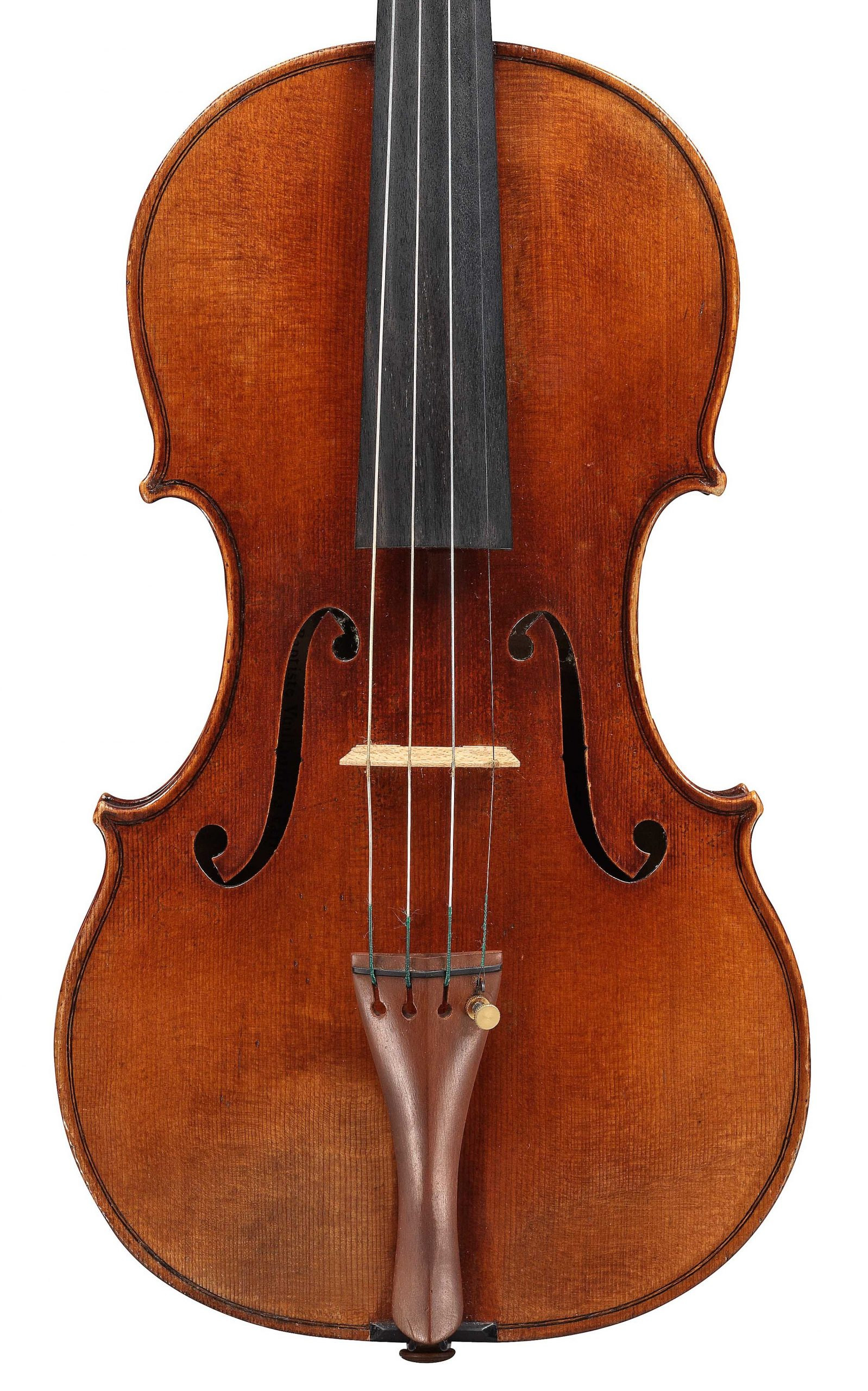 Front of violin by JB Vuillaume, dated 1861, exhibited by Ingles & Hayday at Sotheby's in 2012