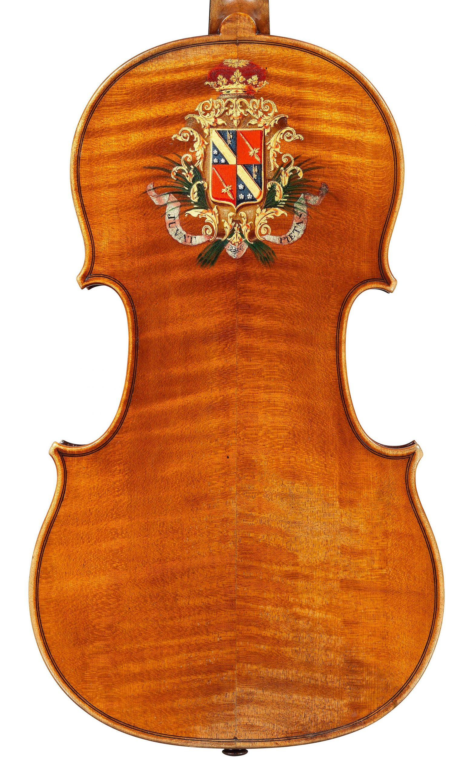 Back of decorated violin by JB Vuillaume, ex-Caraman de Chimay, dated 1865, exhibited by Ingles & Hayday at Sotheby's in 2012