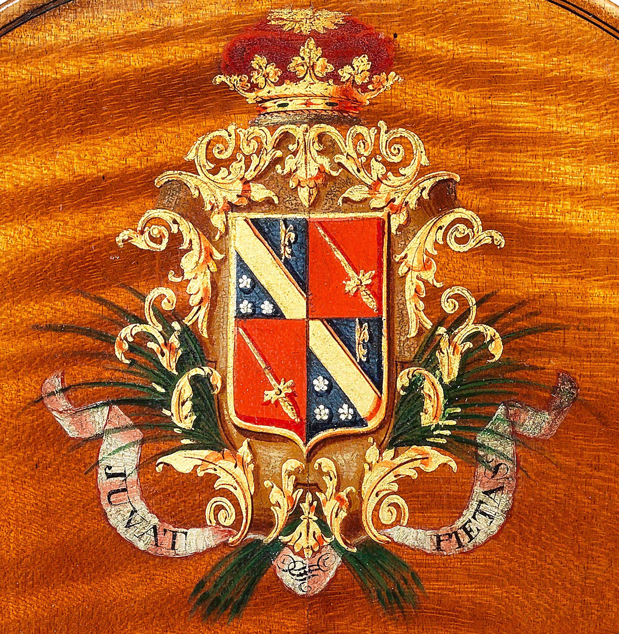 The Duke of Caraman's coat of arms on the JB Vuillaume violin in the Ingles & Hayday exhibition at Sotheby's in 2012