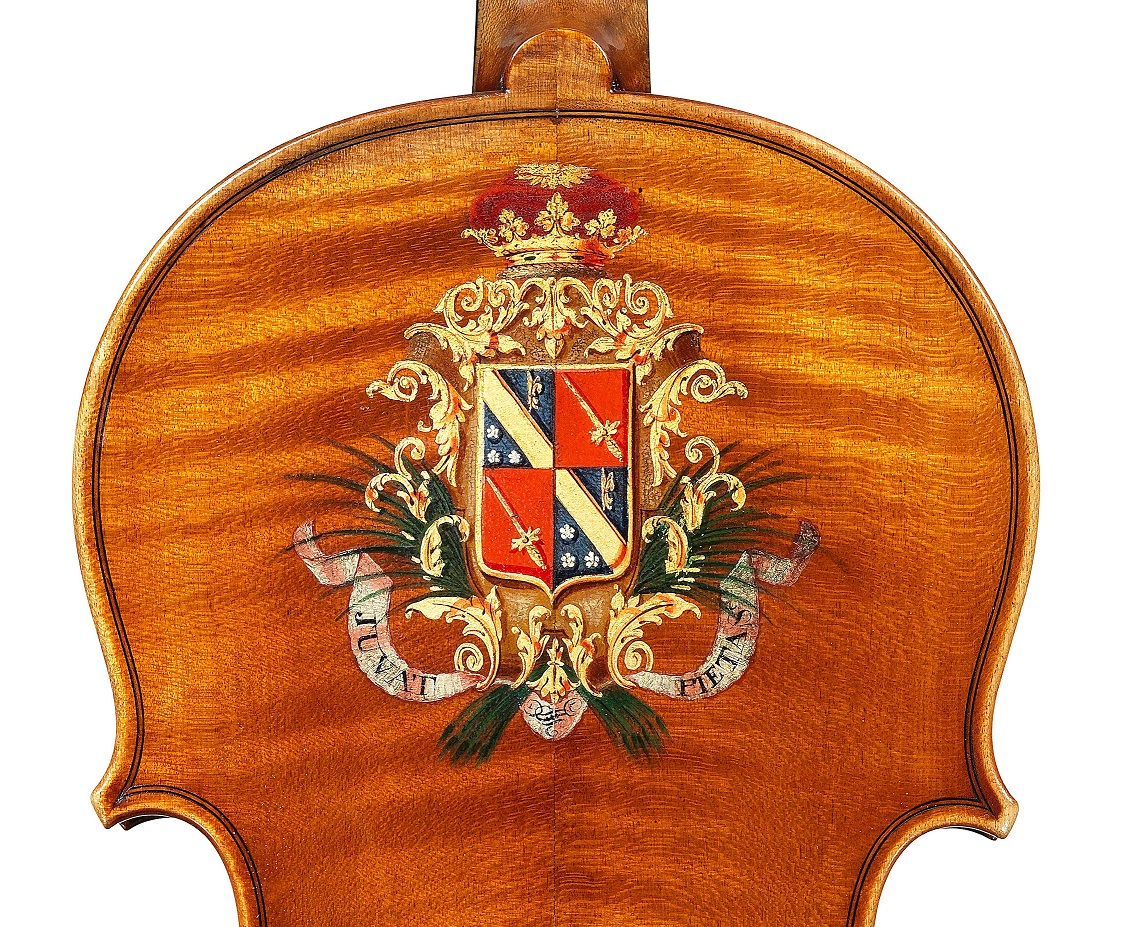 Detail of the violin by JB Vuillaunme, ex-Caraman de Chimay, dated 1865, exhibited by Ingles & Hayday at Sotheby's in 2012