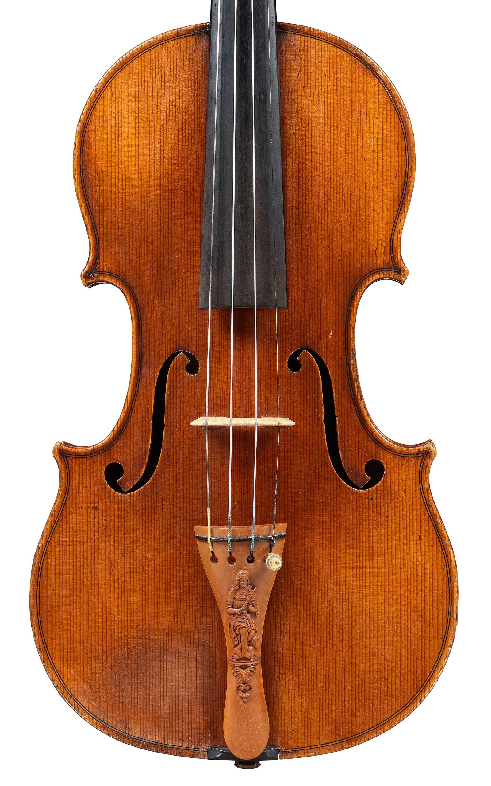 Front of decorated violin by JB Vuillaume, ex-Caraman de Chimay, dated 1865, exhibited by Ingles & Hayday at Sotheby's in 2012