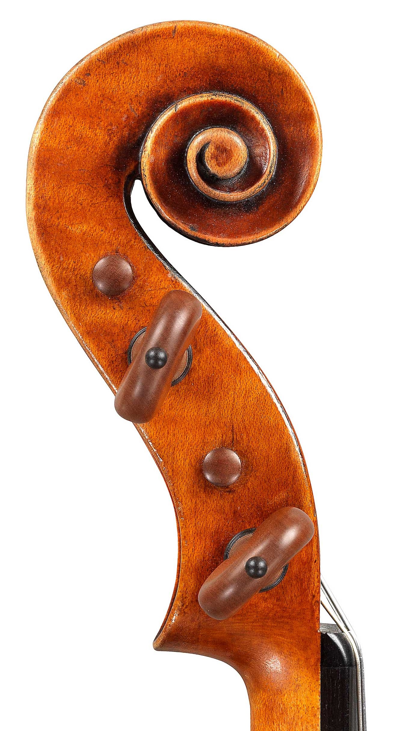 Scroll of violin by JB Vuillaume, ex-Sin, dated 1865, exhibited by Ingles & Hayday at Sotheby's in 2012 and now played by Hilary Hahn