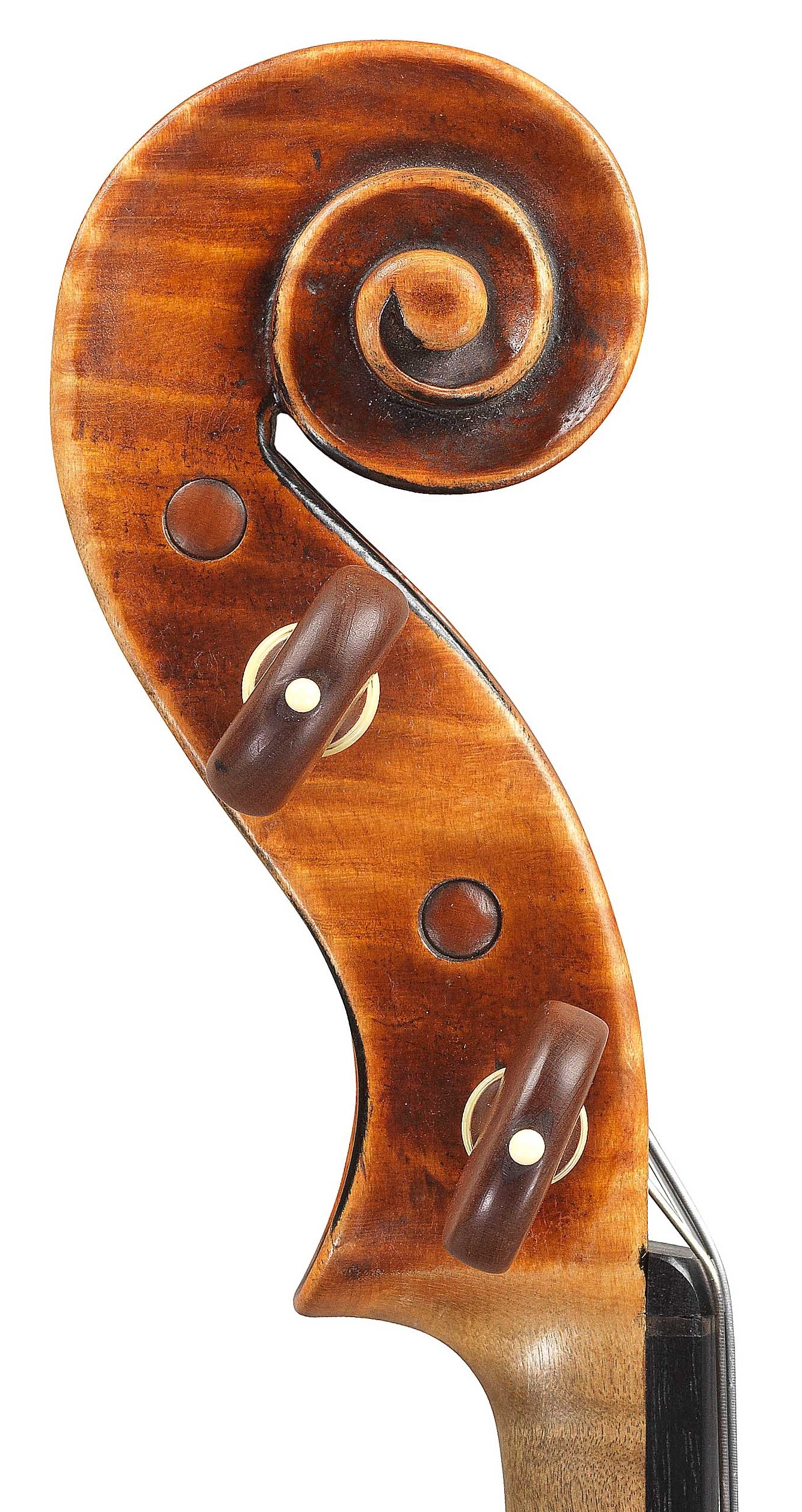 Scroll of violin by JB Vuillaume, ex-Robertson, dated 1870, exhibited by Ingles & Hayday at Sotheby's in 2012