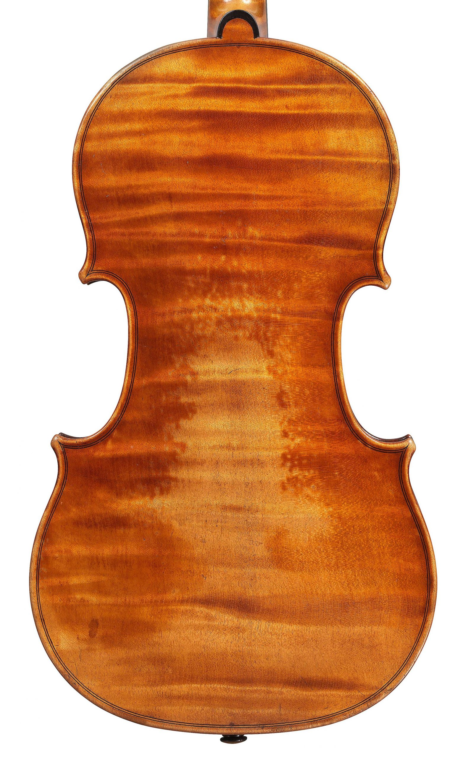 Back of violin by JB Vuillaume, St. Nicolas, dated 1872, exhibited by Ingles & Hayday at Sotheby's in 2012