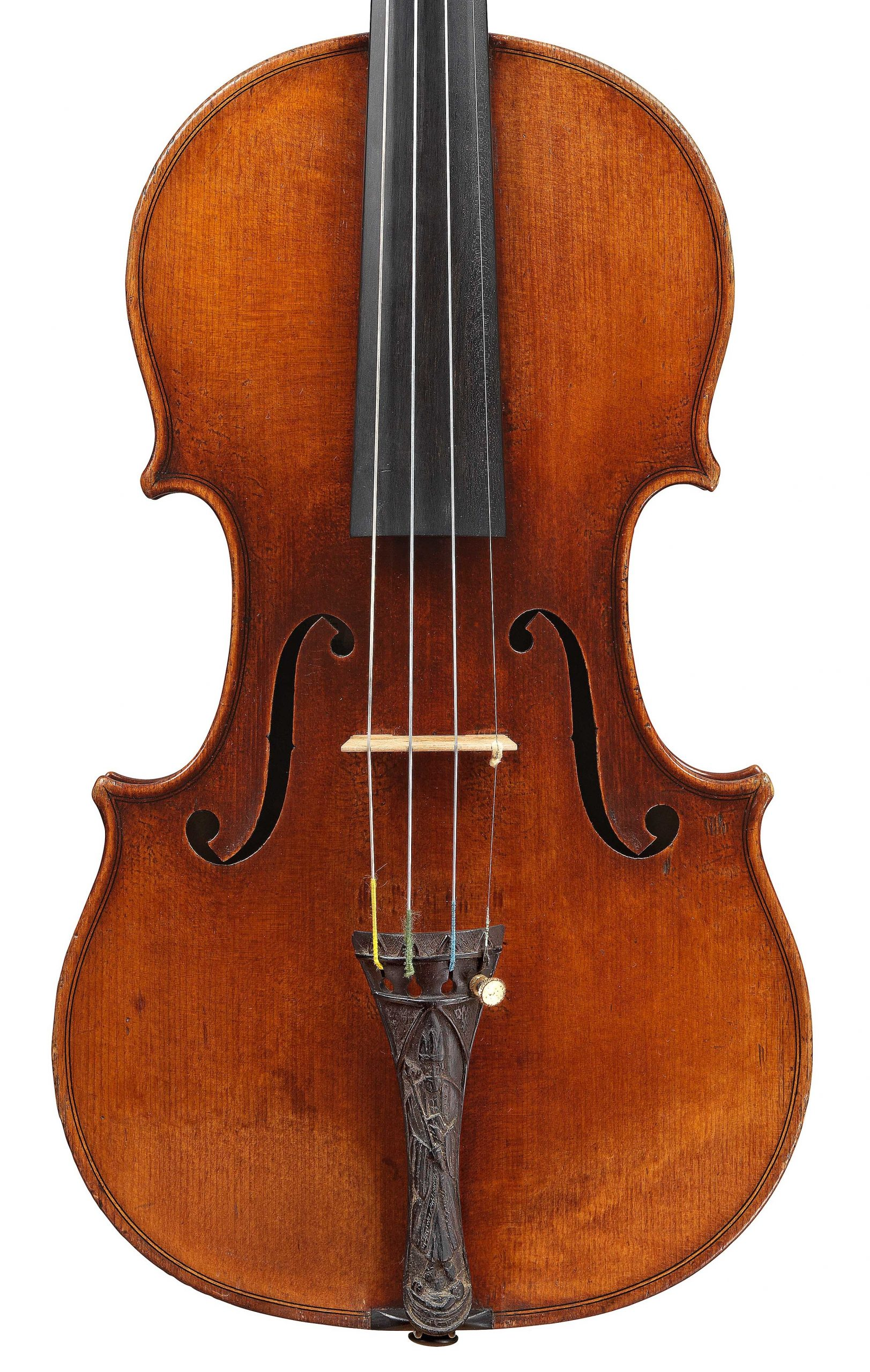 Front of violin by JB Vuillaume, St. Nicolas, dated 1872, exhibited by Ingles & Hayday at Sotheby's in 2012
