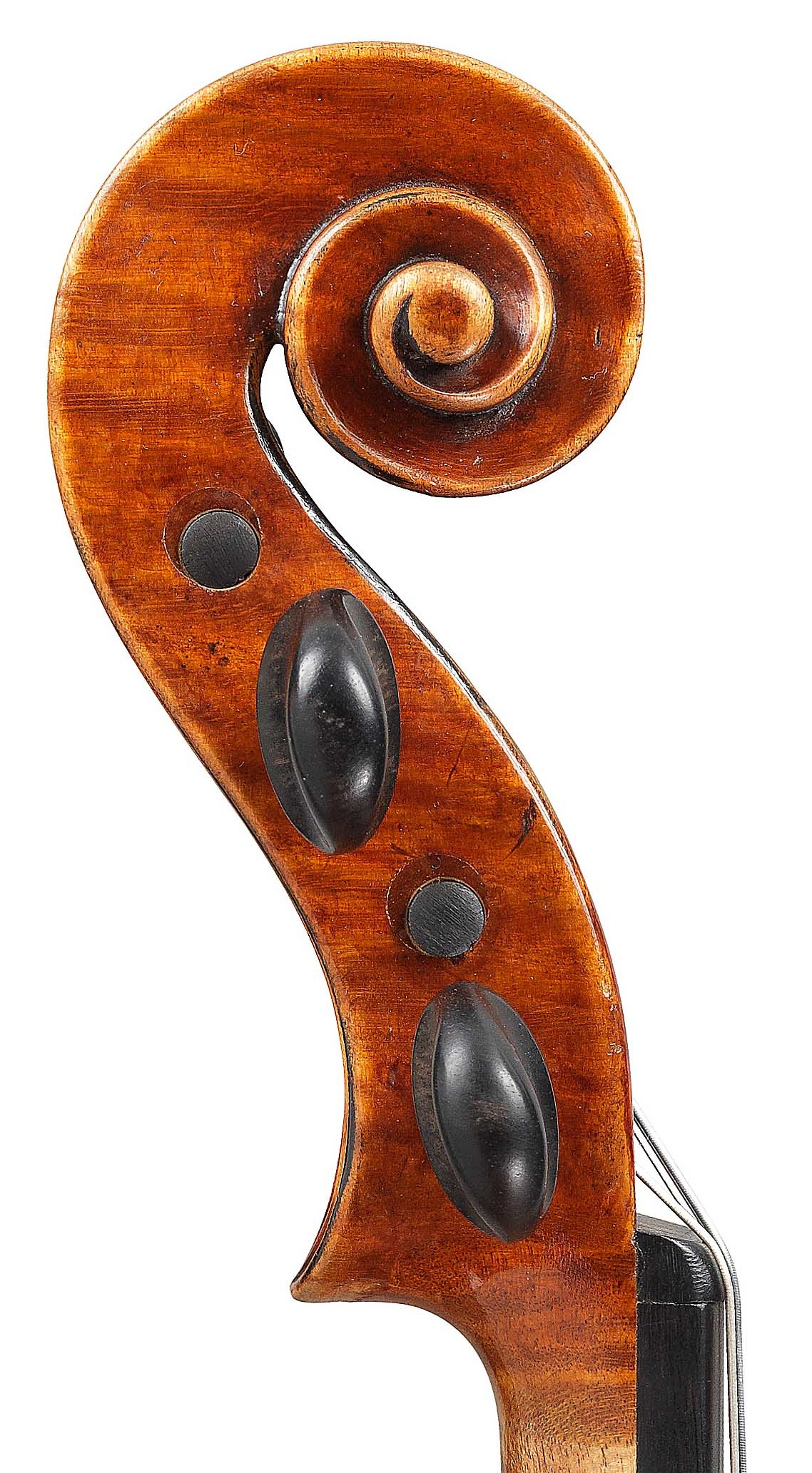 Scroll of violin by JB Vuillaume, St. Nicolas, dated 1872, exhibited by Ingles & Hayday at Sotheby's in 2012