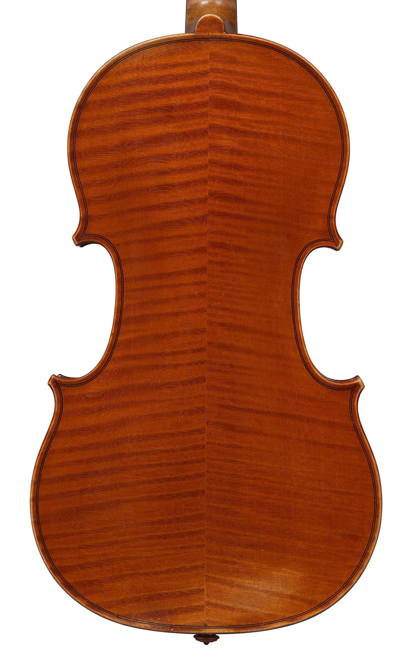 Back of a violin by JB Vuillaume, King of Portugal, dated 1873, exhibited by Ingles & Hayday at Sotheby's in 2012