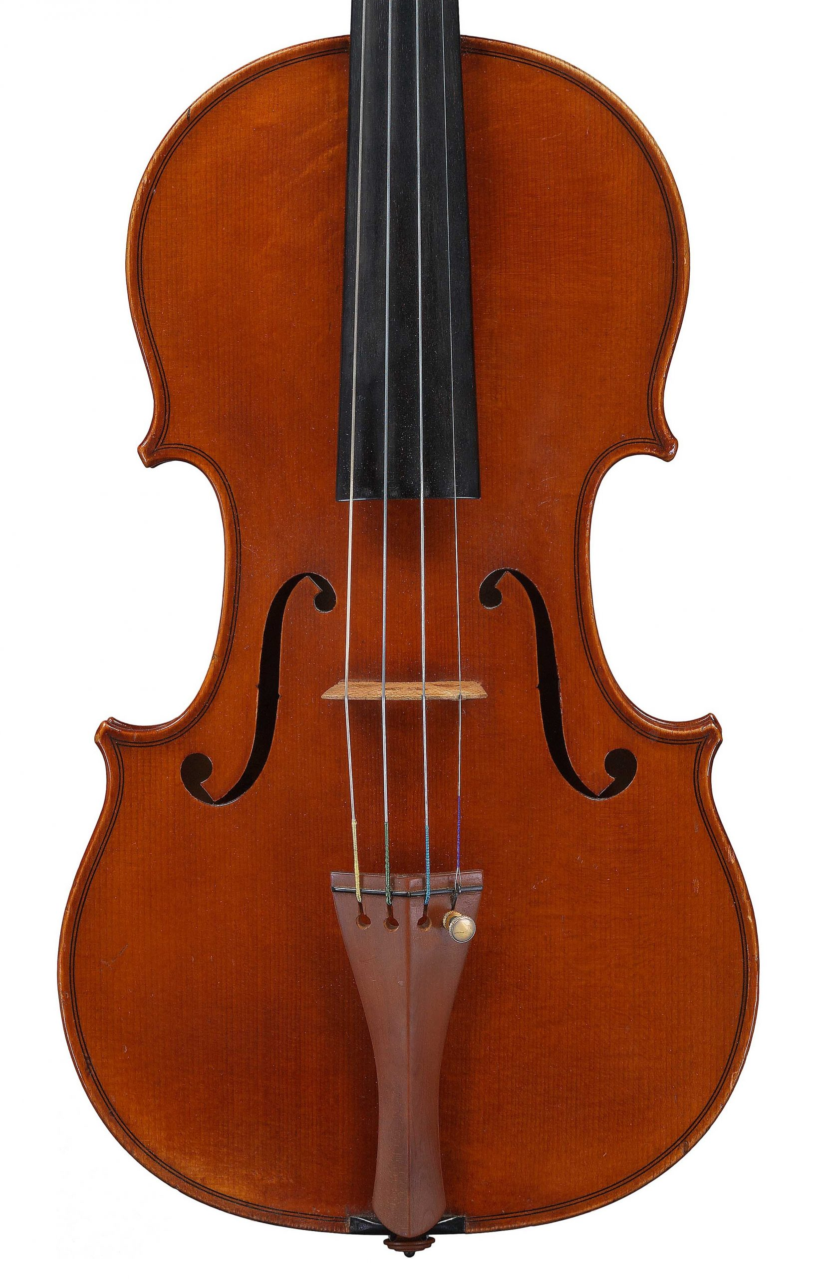 Front of a violin by JB Vuillaume, King of Portugal, dated 1873, exhibited by Ingles & Hayday at Sotheby's in 2012