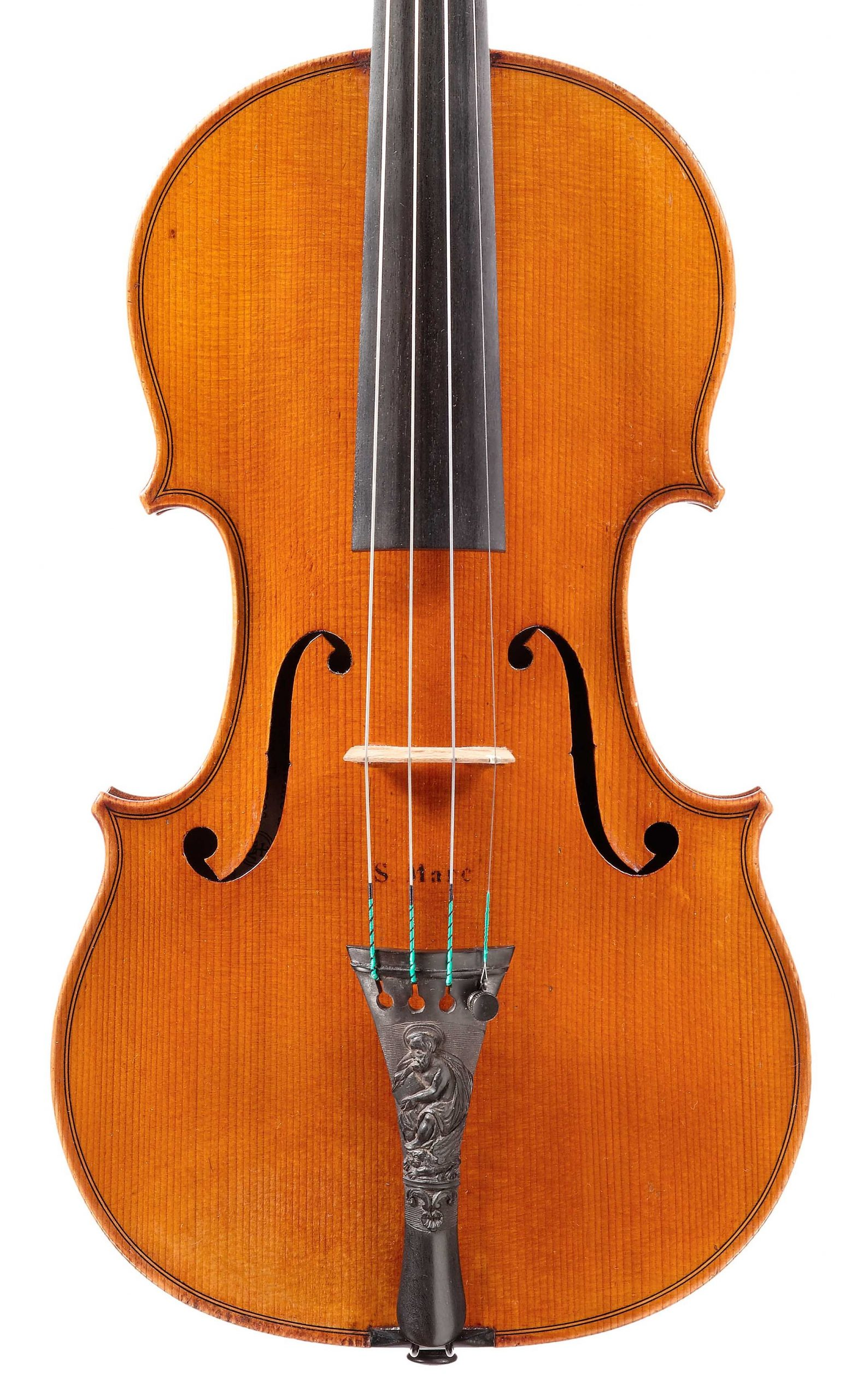 Front of St. Marc violin from the Evangelists quartet by JB Vuillaume, dated 18