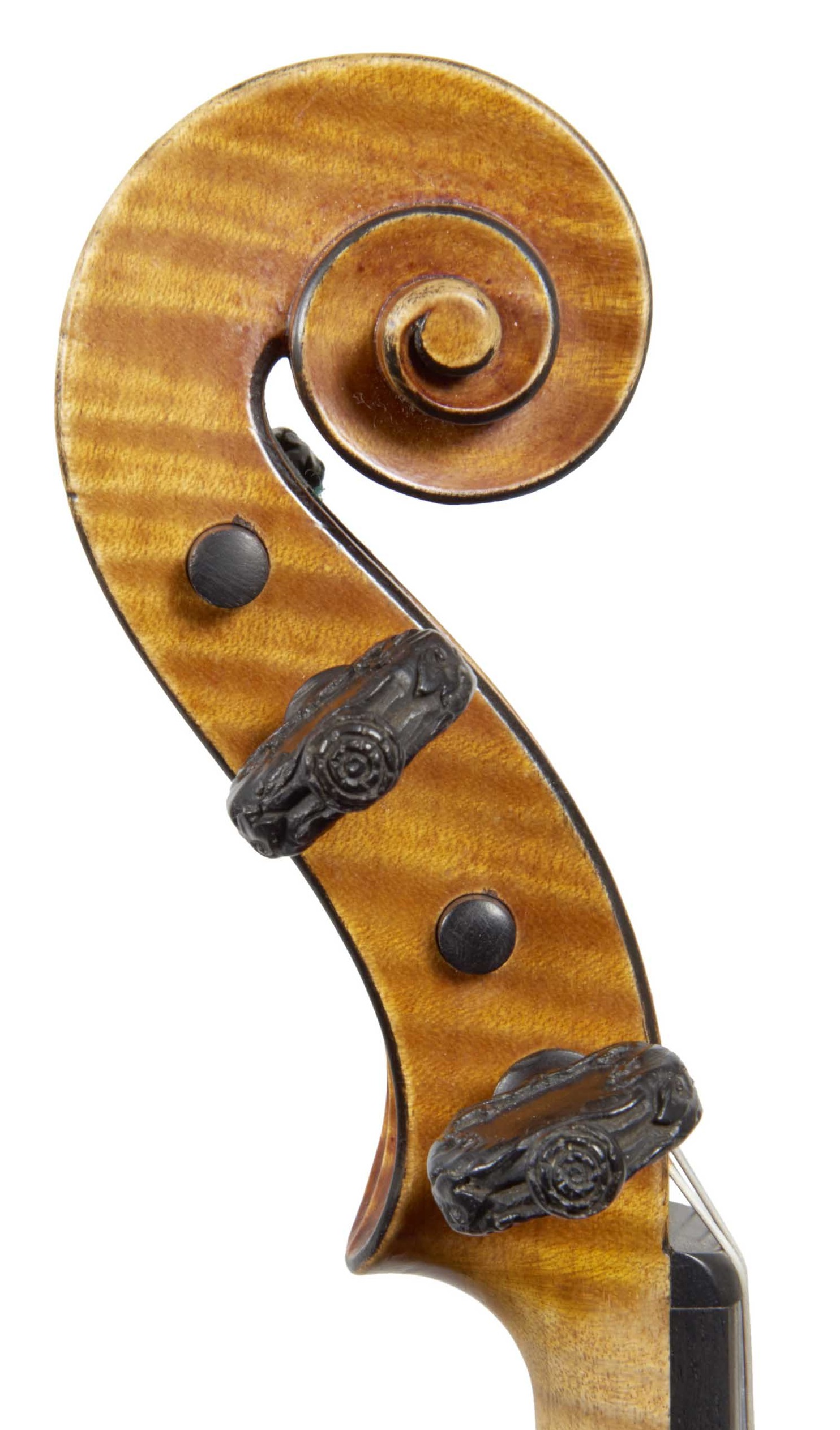 Scroll of St. Marc violin from the Evangelists quartet by JB Vuillaume, dated 18