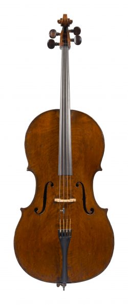Front of a cello by Joseph Hill, London, dated circa 1760