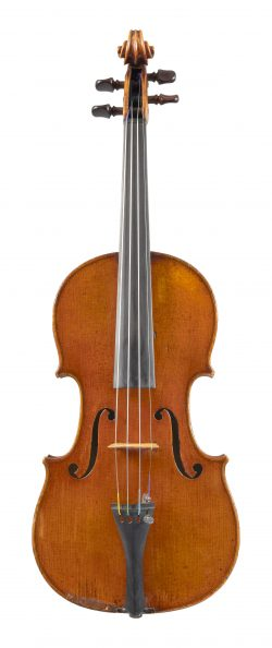 Front of a violin by Pierre Joseph Hel, Lille, 1883