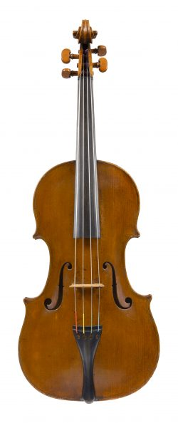 Front of a viola by Thomas Perry, Dublin, dated 1783