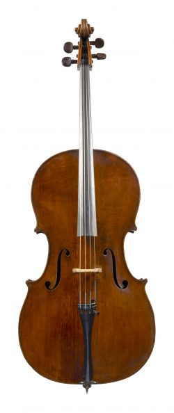 Front of a cello by Vincenzo Panormo, London, c1800