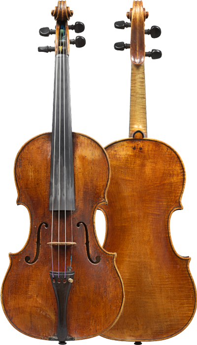 Composite view of a violin by Vincenzo Rugeri, c1700, offered by Ingles & Hayday