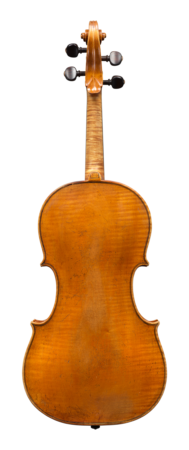 Back of a colourful and articulate sounding viola by little know Piattellini to be sold at Ingles & Hayday. Made circa 1760