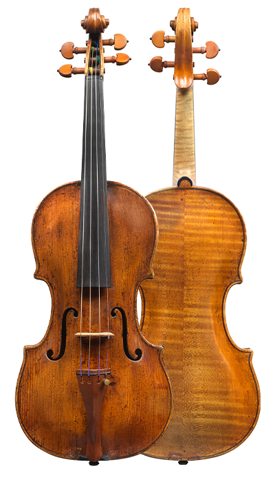 Composite view of a violin by Augusto da Rub, 1760. The full arching gives this violin a rich, warm and colourful tone.