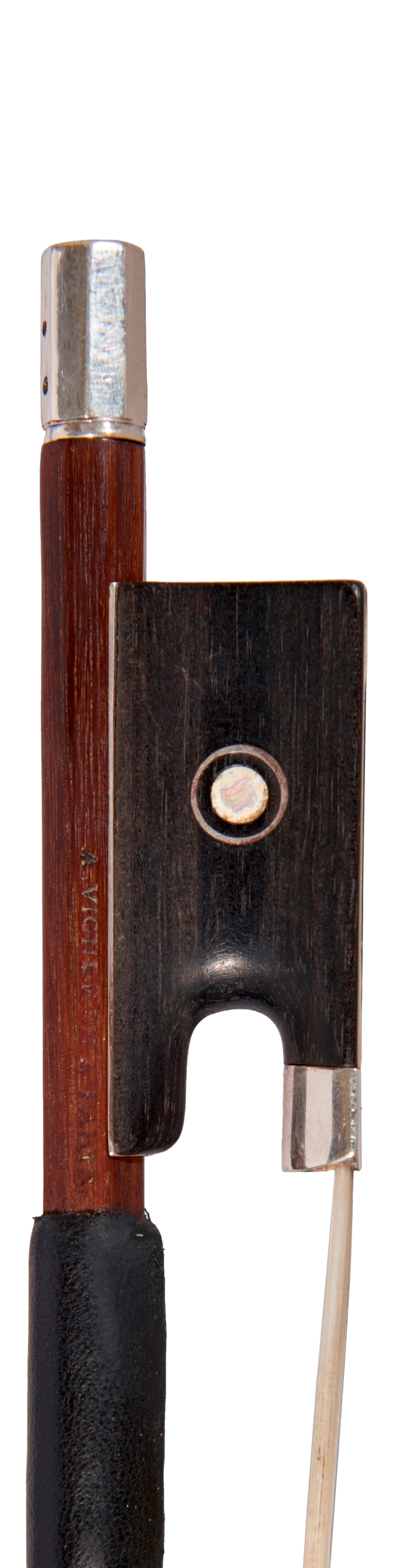 Frog of a violin bow by JA Vigneron, circa 1900. This bow is a lovely example of the maker's mature style and is undeniably a player's bow.