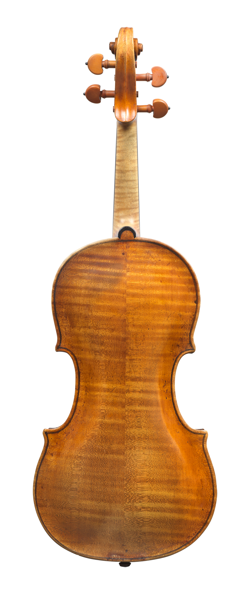 Back of a violin by Augusto da Rub, 1760. The full arching gives this violin a rich, warm and colourful tone.