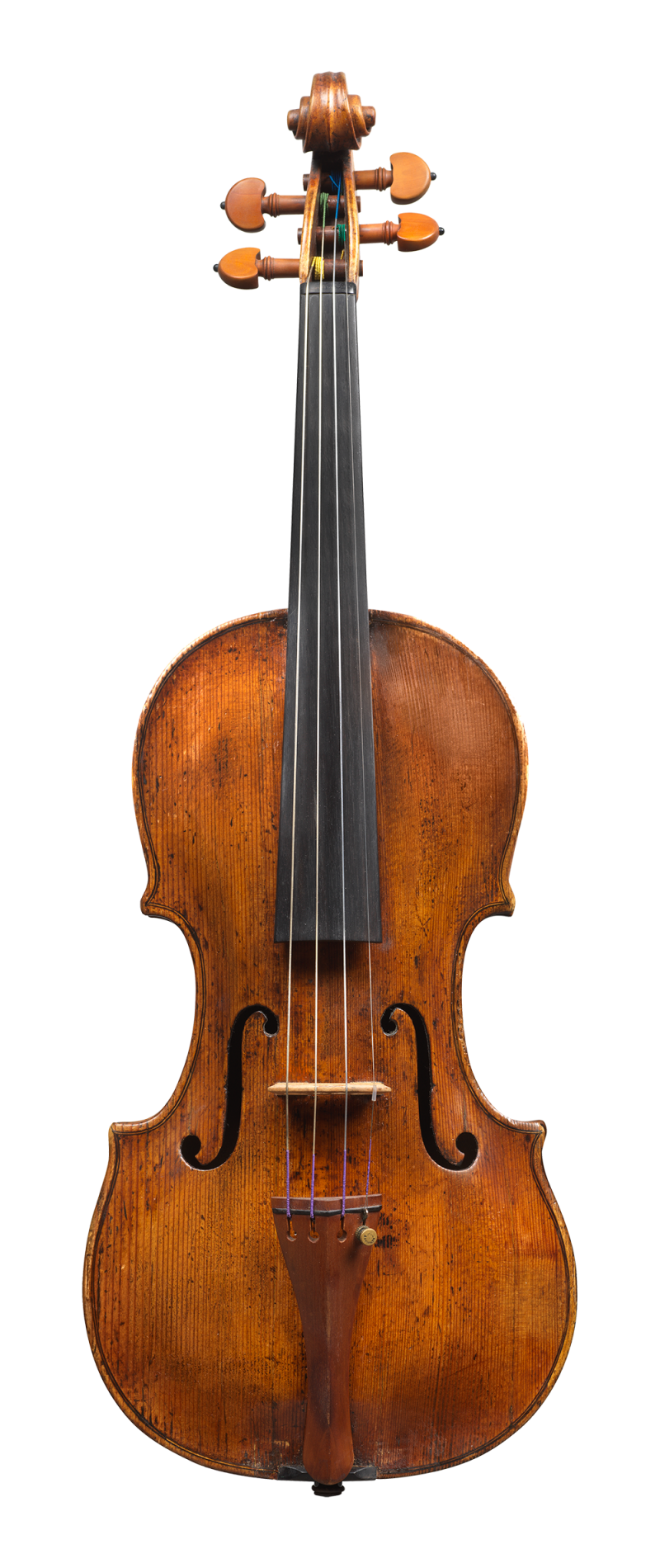 Front of a violin by Augusto da Rub, 1760. The full arching gives this violin a rich, warm and colourful tone.