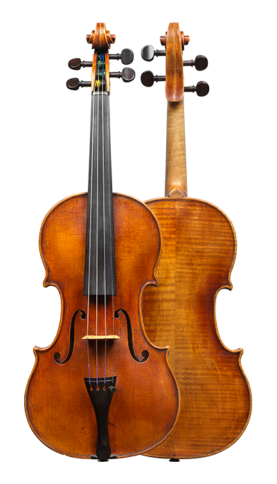 Composite view of a violin by Bernhard Simon Fendt, circa 1800. The instrument is an impressive Stradivari copy and is very responsive, with a focused and strong sound and a rich range of overtones.