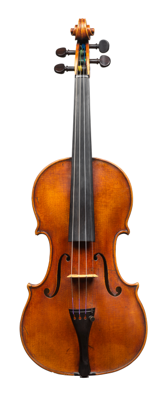 Front of a violin by Bernhard Simon Fendt, circa 1800. The instrument is an impressive Stradivari copy and is very responsive, with a focused and strong sound and a rich range of overtones.