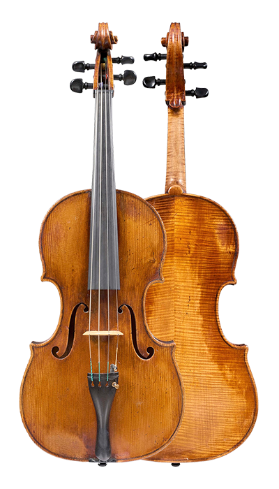 Composite view of a viola by Gaetano Sgarabotto, circa 1920. This viola has a full and warm sound with a singing A string and an open bass register.