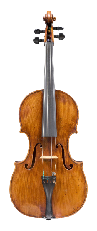 Front of a viola by Gaetano Sgarabotto, circa 1920. This viola has a full and warm sound with a singing A string and an open bass register.