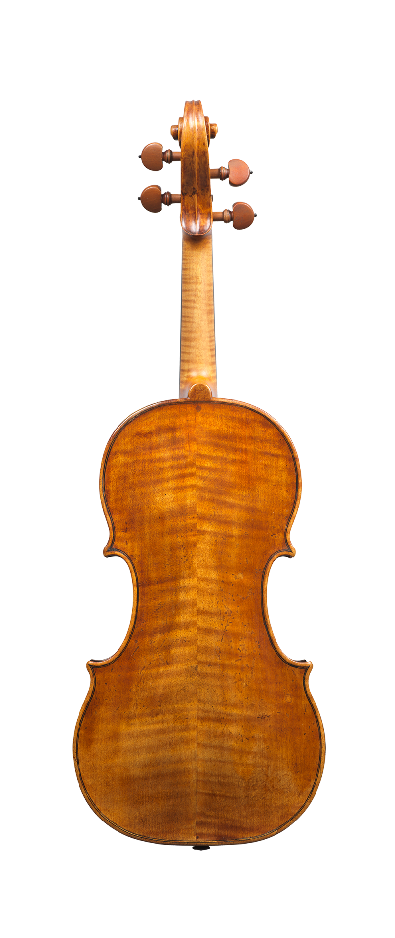 Back of a rare violin by Carlo Rugeri, circa 1710. The model used for this instrument is particularly delicate and elegant, and its sound is refined.