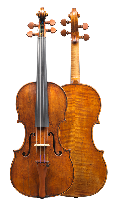 Front and back of a rare violin by Carlo Rugeri, circa 1710. The model used for this instrument is particularly delicate and elegant, and its sound is refined.
