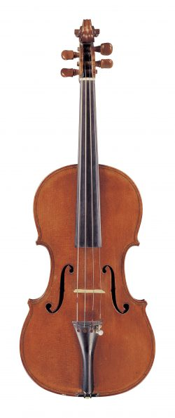 Front of a violin by Giuseppe Anotnio Rocca, 1854