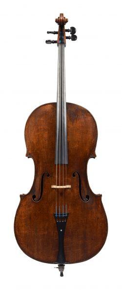 Front of a cello by Gabriel David Buchstetter, Regensburg, 1769