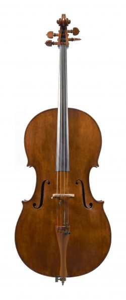Front of a cello by Peter Wamsley, London, 1739