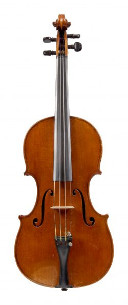 Front of a violin by Charles Mennegand,Paris, 1879