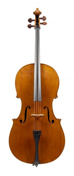 Front of a cello by Henry Lockey Hill, London, c1815