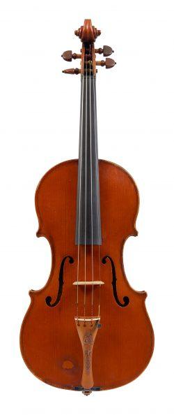 Front of a violin by Auguste Martin Gemünder, New York, 1886