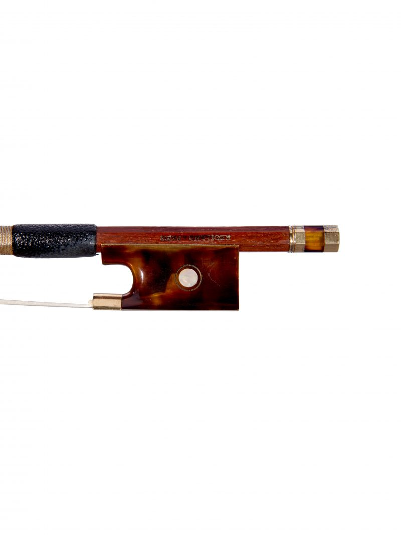 Frog of a gold & tortoiseshell-mounted violin bow by Benoît Rolland, Paris, c1980