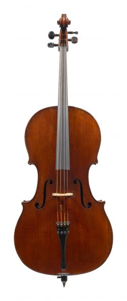 Front of a cello by Charles C. F. Darche, Brussels, c1860