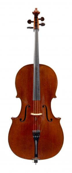 Front of a cello by Charles Quenoil, Igny, 1932