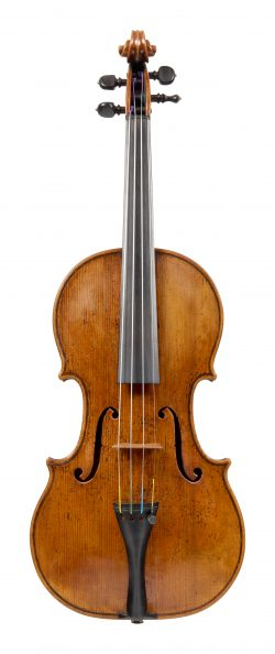Front of a violin by Daniel Parker, London, 1716