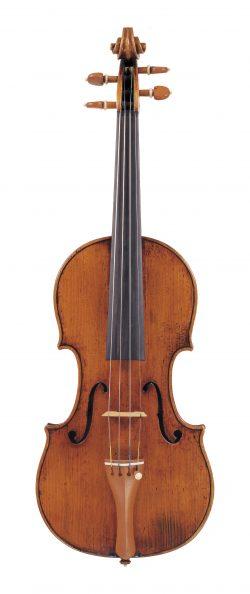 front of a violin by Francesco Stradivari, Cremona, c1740, ex-TC-Petersen