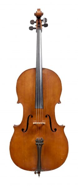 Front of a cello by George Adolph Chanot, Manchester, 1909