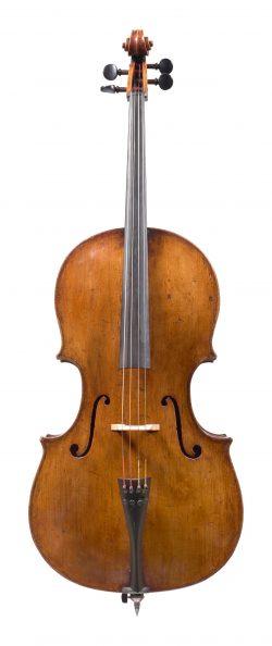 Front of a cello by Giovanni Battista Genova, Turin, c1770