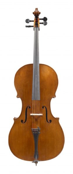 Front of a cello by Henry Lockey Hill, London, c1834