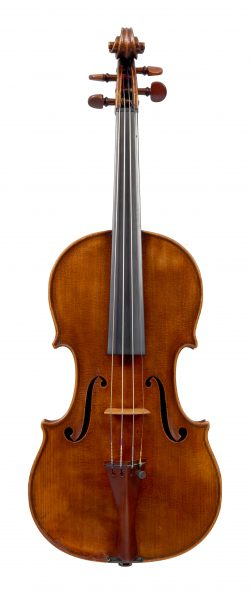 Front of a violin by W.E. Hill & Sons, London, 1914