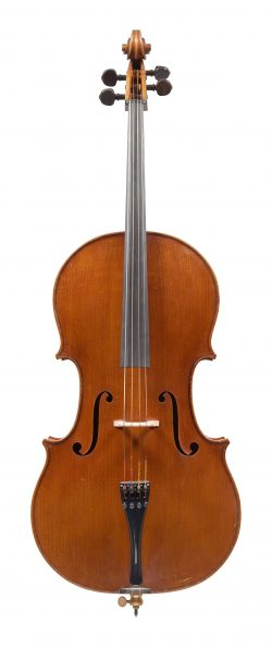 Front of a cello by Jean Bauer, Angers, 1960