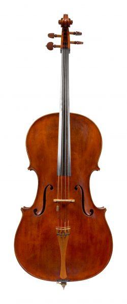 Front of a cello by Natale Carletti, Pieve di Cento, 1973