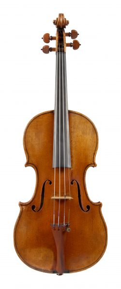 Front of a violin by Pierre Joseph Hel, Lille, 1881