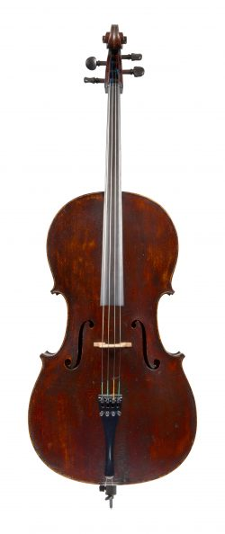 Front of a cello by Thomas Kennedy, London, 1836