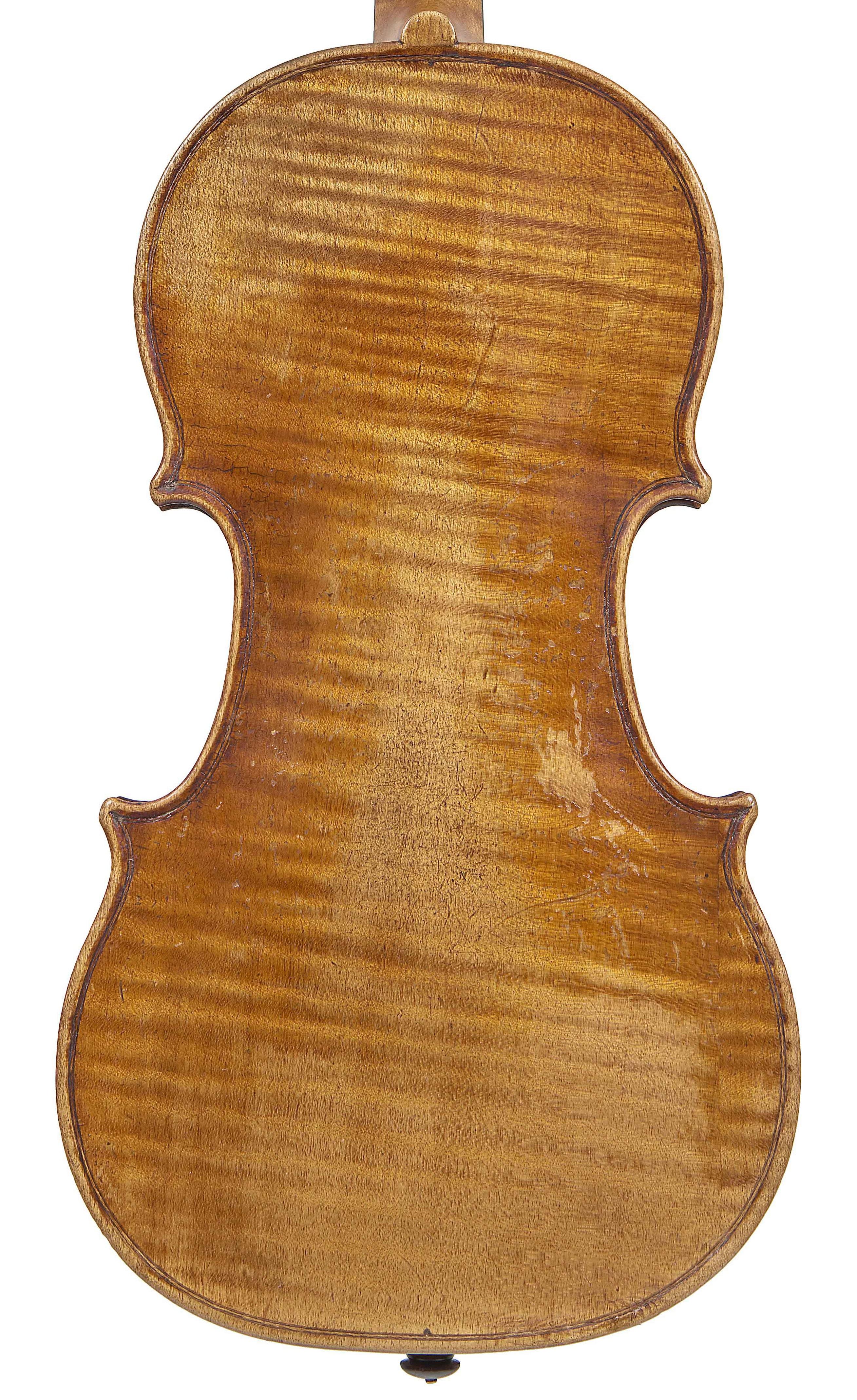 back of a 3/4 size violin by Tommaso Balestrieri, Mantua, circa 1765